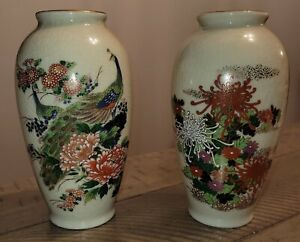 Vintage Japanese Satsuma Hand Painted Peacock  Floral Vase Set signed