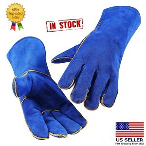 14 Inch Welding Gloves Blue Heat Resistant Lined Leather for Mig Tig Welders $11.49