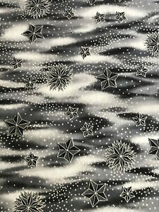 Hollytex Celestial Stars Starbursts in Grays with Metallic Silver Fabric BTHY