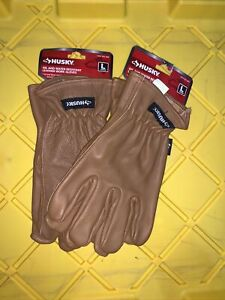 Size Large Husky Oil And Water Resistant Leather Work Gloves Set Of 2 Pairs
