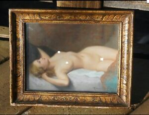 ORIGINAL VINTAGE ANTIQUE PIN UP PINUP PAINTING LOVELY NUDE GIRL FEMALE WOMAN $1995.00