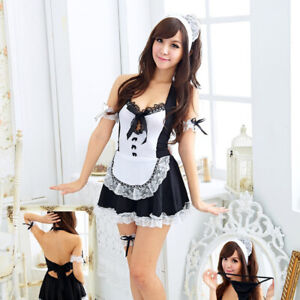 Women Sexy Lingerie Set Cosplay French Maid Babydoll Outfit Fancy Dress Costume $13.09