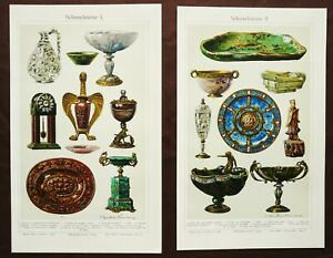 1897 Set of 2 antique lithographs: ANTIQUE OBJECTS MADE IN STONE. ANTIQUES. $14.00