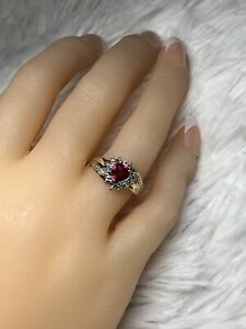 10K YELLOW GOLD RING WITH SYTH. RUBY amp; DIAMOND SIZE 7