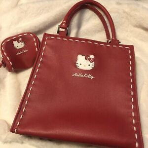 Vintage 2005 Sanrio Hello Kitty Handbag and Coin Purse Red w White Stitching