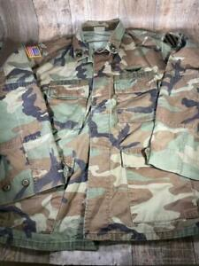 Vintage Army Field Jacket Large Regular Button Up Patches Free Shipping $24.29