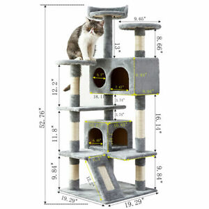 Multi Level Cat Tree w Flexible Pole Covered with Sisal Cat Tower for CatsPets