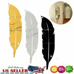3D DIY Feather Mirror Home Room Decal Vinyl Art Stickers Wall Decor Removable