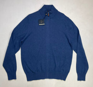 Brook Brothers Full Zip Mens Sweater Adult Large Blue Supima Cotton NWT $44.95