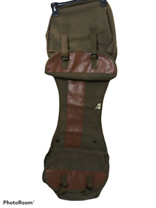 Stansport Saddle Bag Flap Side Hunting DOG green brown Canvas Faux Leather euc