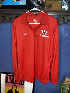 Dayton Flyers Nike Dri Fit Shirt Long Sleeve Red Mens Large Preowned $17.00