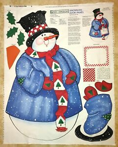 Vintage SNOWMAN DOOR PANEL Fabric Sewing Wall Hanging Winter Christmas January $11.95