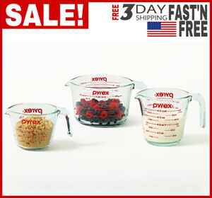 NEW 3 Pieces Glass Measuring Cup Set Microwave And Oven Safe Clear High Quality