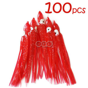 100pcs RED 4.75quot; Squid Skirts Octopus Hoochies Trolling Fish soft Lures AAA