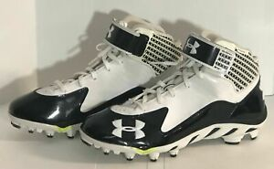 UNDER ARMOUR FOOTBALL CLEATS BLACK WHITE SPINE CLUTCH FIT SIZE 11 NEW W O BOX $34.99
