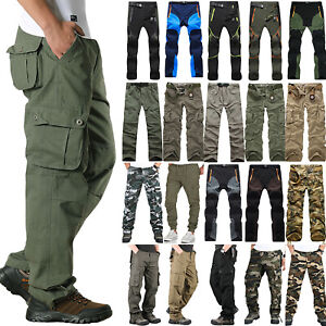 Men Military Cargo Pants Tactical Army Combat Work Multi Pockets Casual Trousers