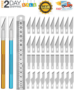 Kit 40 Exacto Knife Set Blades Refill Ruler Xacto For Craft Cutting And Crafting $16.99