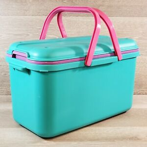 Large Purple Teal Plastic Craft Sewing Storage Organizer Tote Eagle CraftStor $39.99
