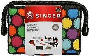 SINGER 07272 Polka Dot Small Sewing Basket with Sewing Kit Accessories $18.89