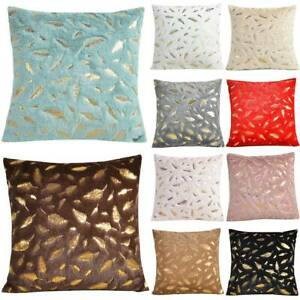 Luxury Large Gold Feather Plush Fur Soft Cushion Cover Pillow Case Home Decor US