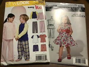 2 New Look kids Sewing Patterns Dress Pajama Tops Bottoms New Uncut size 1 2 8 $5.00