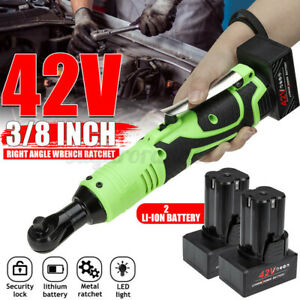 42V 100 N.m 3 8#x27;#x27; LED Light Cordless Electric 90° Right Angle Wrench 2 Battery $56.88