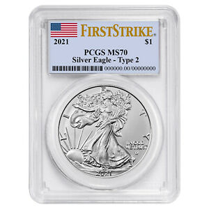 2021 $1 Type 2 American Silver Eagle PCGS MS70 FS Flag Label $62.92
