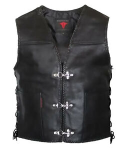 Mens Fish Hook Braided Motorcycle Biker Concealed Carry Leather Vest S 4XL $59.99
