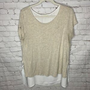 Pebble And Stone Womens Layered Blouse Beige Off White Short Sleeve Scoop USA XL $12.99