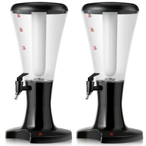 Costway 2 Set 3L Plastic Cold Draft Beer Tower Dispenser House Use w LED $89.99
