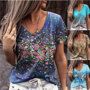 Womens Floral Print Casual V Neck T Shirt Summer Blouse Short Sleeve Tops Tee $14.59