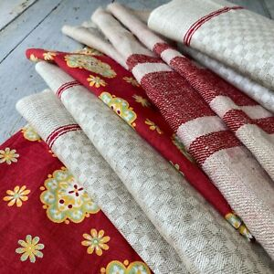 Antique French SEWING SCRAPS pale striped linen floral Farmhouse fabric old $95.00