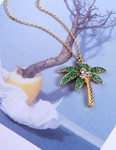 Palm Tree Necklace Green and Gold Crystal $14.99