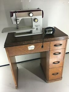 Vintage Riccar The Countress 1960#x27;s Antique sewing machine table Desk Walnut $187.00