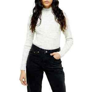 TOPSHOP Womens Marled Ribbed Funnel Neck Sweater Long Sleeve Pullover L Large $15.88