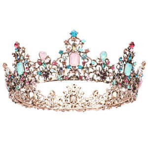 Jeweled Baroque Queen Crown Rhinestone Wedding Crowns and Tiaras for Women NEW $15.19