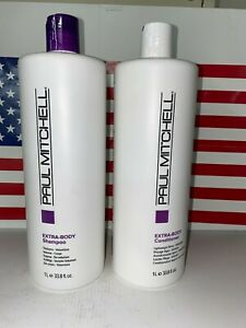 PAUL MITCHELL EXTRA BODY Shampoo and Conditioner 33.8 oz LITER DUO USA
