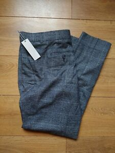 Mens Slim Fit Flat Front 1778 Debenhams Prince of Wales Check Trousers 36S GBP 15.00