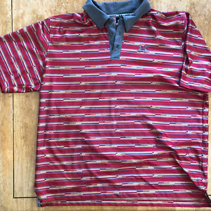 Under Armour Golf Polo Shirt 100% Polyester Mens XXL Red Gray Geometric $38.00