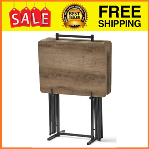 Set Table Tray Folding Stand Tv 5 Piece Wood Dinner Snack Portable Faux Wooden
