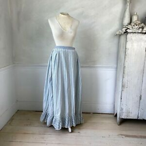 Striped Petticoat Cotton Skirt 1890 French Antique Clothing Workwear Work Wear $195.00
