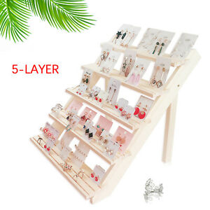 5 Tier Jewelry Stand Holder Wooden Organizer Earring Tray for Room Home Tabletop $46.57