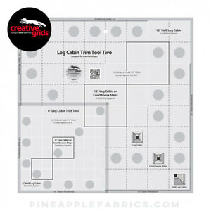 Creative Grids Log Cabin Trim Tool Two Sewing and Quilting Ruler $28.95