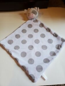 Carters Polka Dot Cow Baby Blanket White Grey Security Lovey $10.62