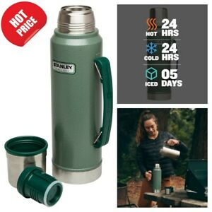 Classic Vacuum Thermos Bottle Coffee Insulated Wide Mouth 1.1 Qt Stainless $26.99