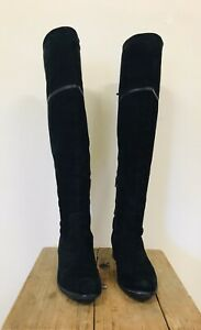PROGETTO Black 100% Suede Over The Knee High Boots Ladies Size 39 8 AU $95.00