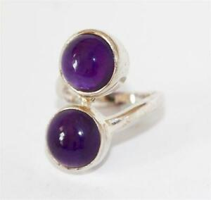 Sterling Silver 3.5ct Amethyst Bypass Two Stone Ring by TGC Size 5.5 $38.24