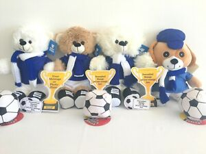 LEICESTER CITY FOOTBALLER FOOTBALL PERSONALISED TEDDY BEAR PUPPY DOG FLAT TROPHY