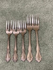 Wm A Rogers Oneida Deluxe Stainless MANSFIELD Flatware 2 Dinner 3 Salad Forks