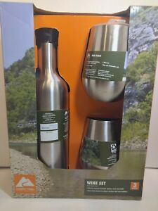 NEW Stainless Steel Wine Bottle And 2 Glass Tumbler Set Ozark Trail A4